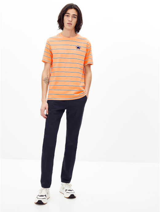 Orange Striped Regular Fit T-Shirt