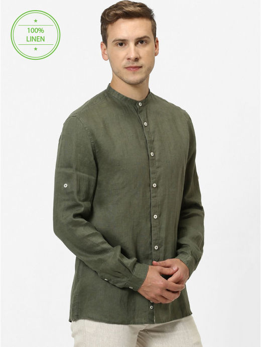 100% Linen Mao Collar Olive Shirt