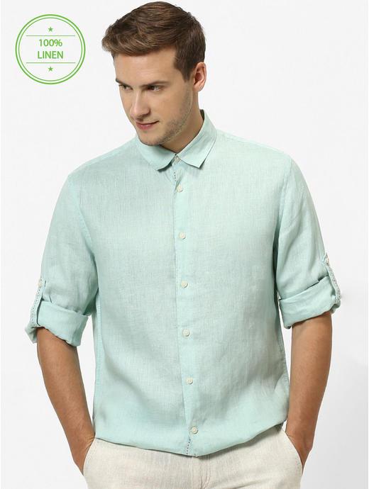 100% Linen Mint Green Shirt