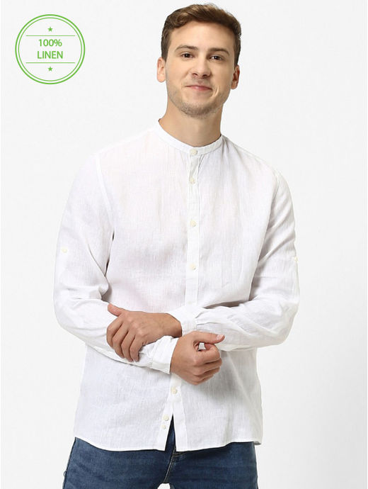 100% Linen Mao Collar White Shirt