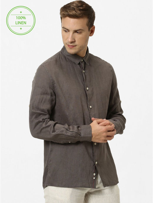 100% Linen Brown Shirt