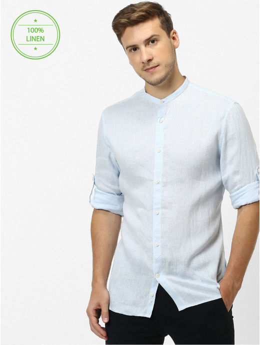 Blue Solid Regular Fit Casual Shirt