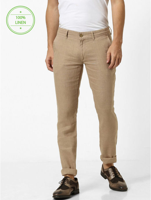100% Linen Slim Fit Camel Pants