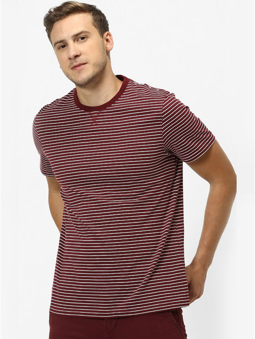 Maroon Striped Regular Fit T-Shirt