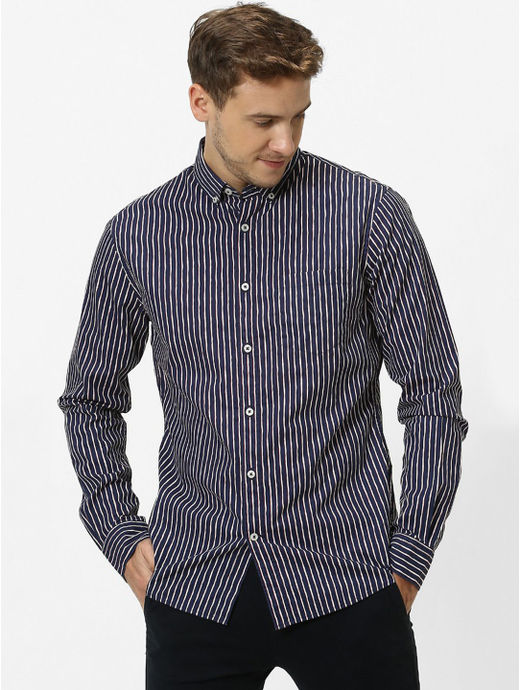 Navy Striped Regular Fit Casual Shirt