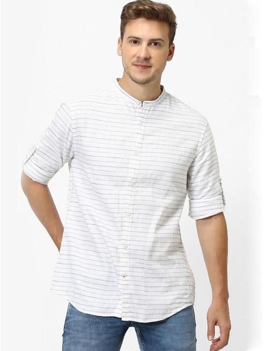 Blue Striped Regular Fit Casual Shirt