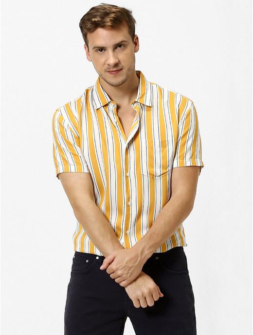 Mustard Striped Casual Shirt