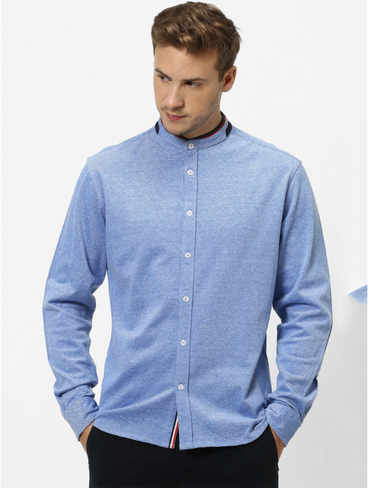 100% Cotton Knitted Blue Shirt