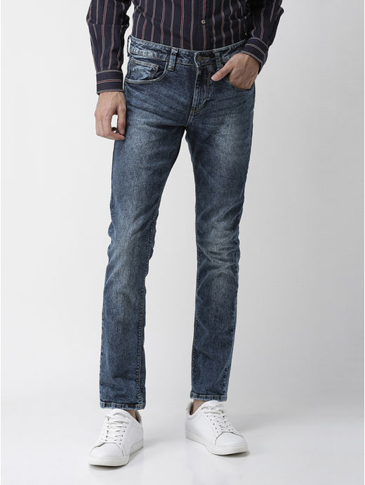 Blue Solid Slim Fit Jeans