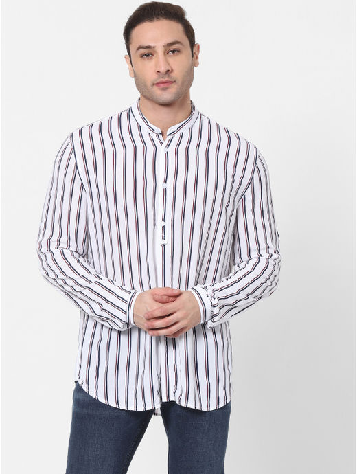 Slim Fit White Striped Shirt