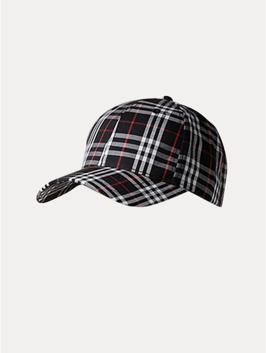 Navy Checked Baseball Cap