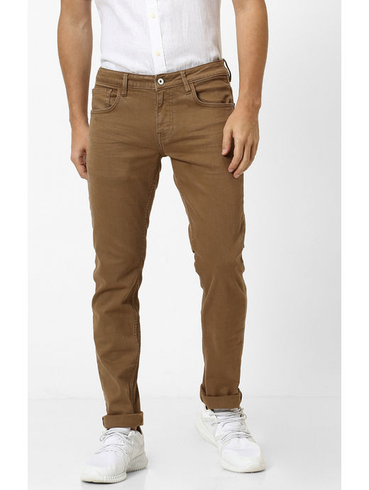 Khaki Solid Tapered Jeans