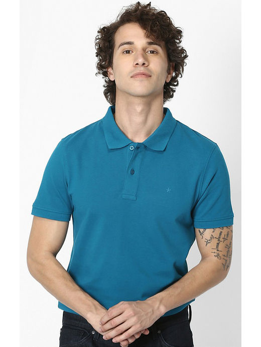 100% Cotton Teal Polo T-Shirt