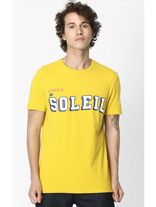 Yellow Printed Soft Touch Regular Fit T-Shirt