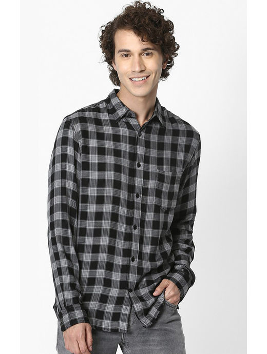 Black Checked Soft Touch Regular Fit Casual Shirt