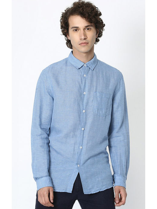 Blue Checked Linen Regular Fit Casual Shirt