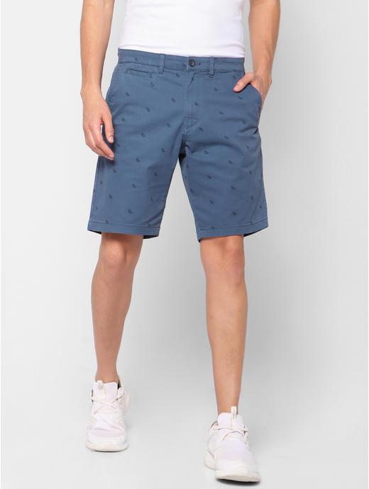 Printed Regular fit Blue Shorts