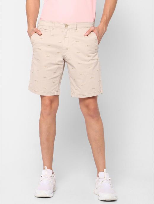 Printed Regular fit Beige Shorts