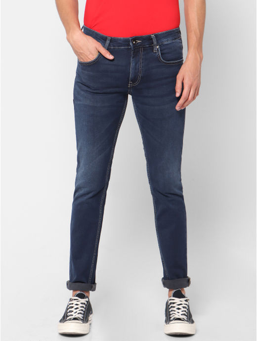 Slim Fit Knitted Blue Jeans