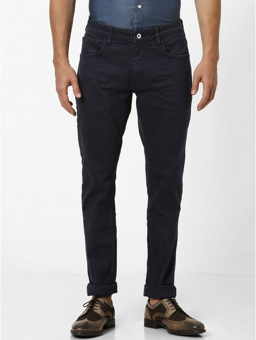 Navy Solid Tapered Jeans