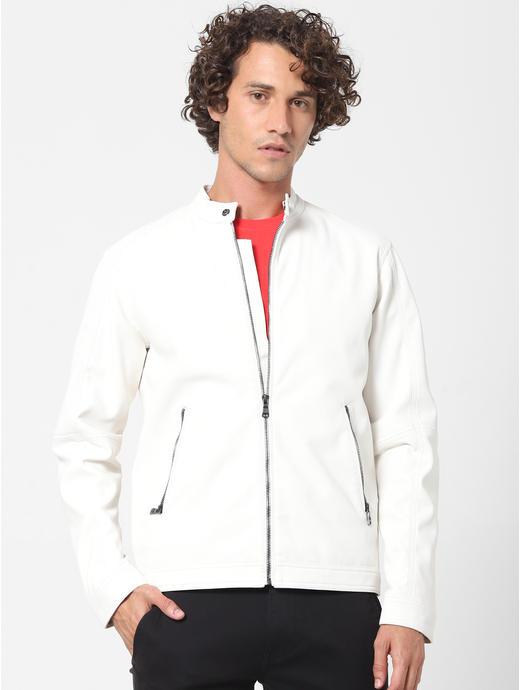 White Solid Biker Jacket