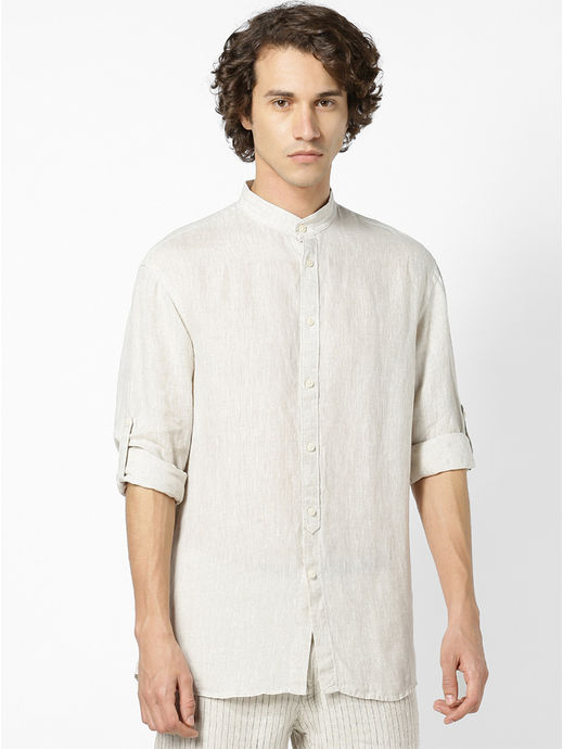 100% Linen Mao Collar Natural Shirt