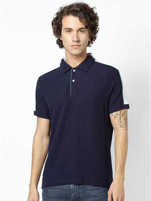 Men Navy Blue & White Colourblocked Polo Collar T-shirt