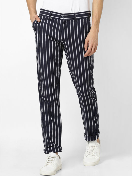Linen Slim Fit Navy Pants
