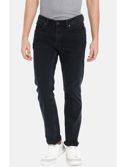 Soft Touch Blue Solid Straight Fit Jeans