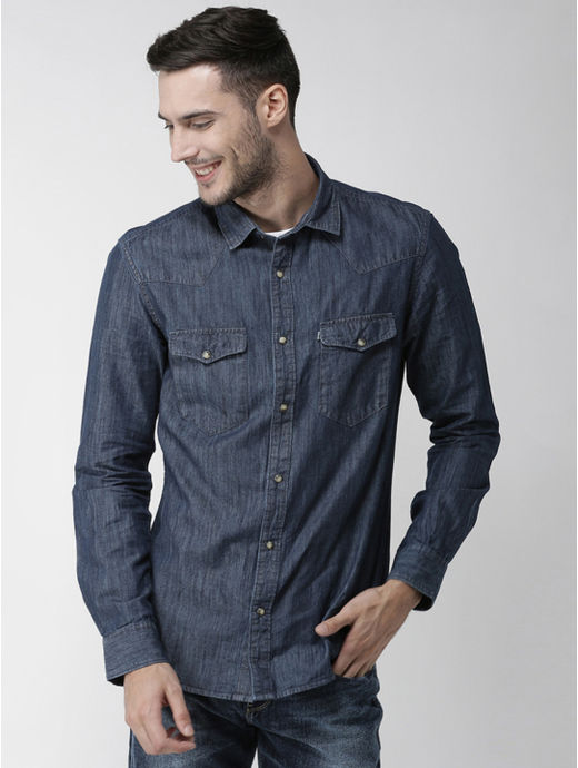 Dark Blue Solid Regular Fit Casual Shirt