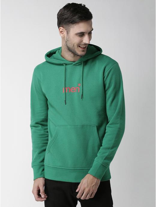 Green Printed Straight Fit Hoodie