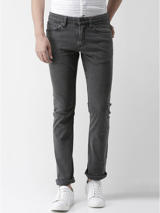 Grey Solid Straight Fit Jeans