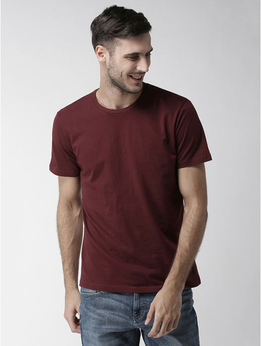 Maroon Solid Straight Fit T-Shirt