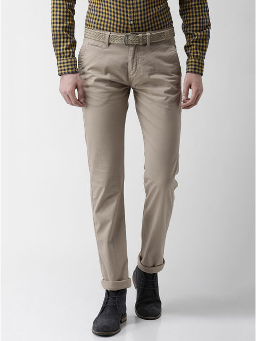 Beige Solid Straight Fit Chinos