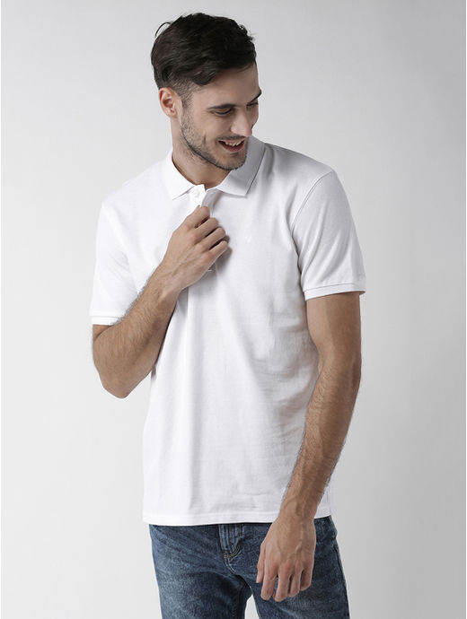 White Solid Straight Fit T-Shirt