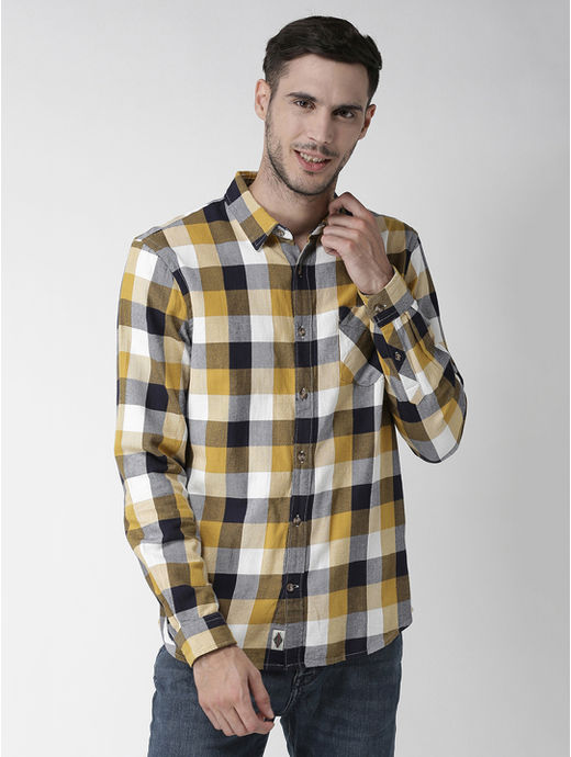 Multicolour Checked Regular Fit Casual Shirt