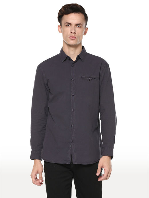 Grey Solid Regular Fit Casual Shirt