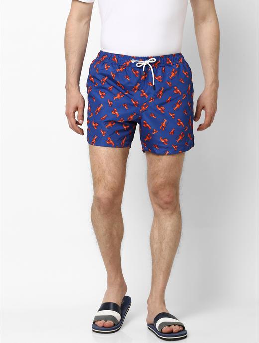 Blue Printed Swim Shorts