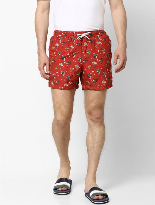 Red Printed Swim Shorts