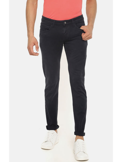 Dark Blue Solid Skinny Fit Jeans