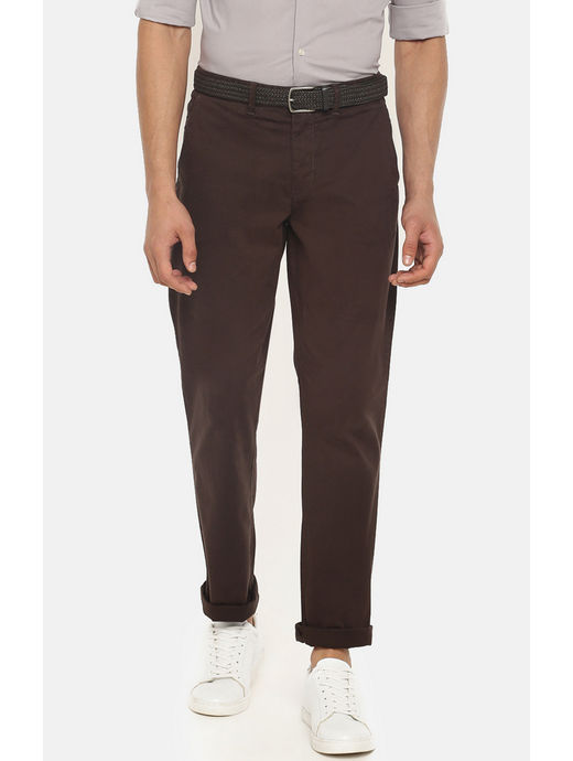 Brown Straight Fit Chinos