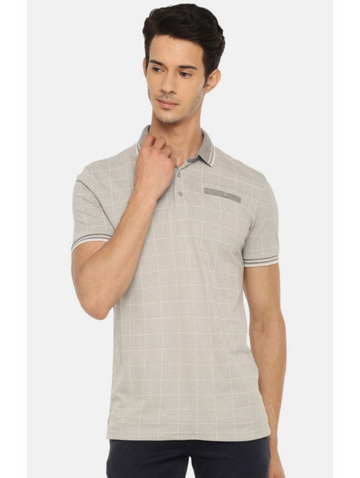Grey Checked Polo T-Shirt