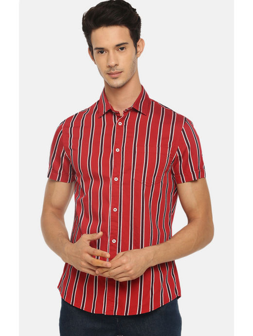 Red Striped Casual Shirt