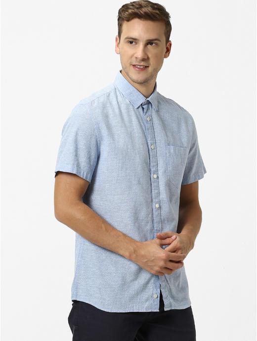 Chambray Printed Casual Shirt