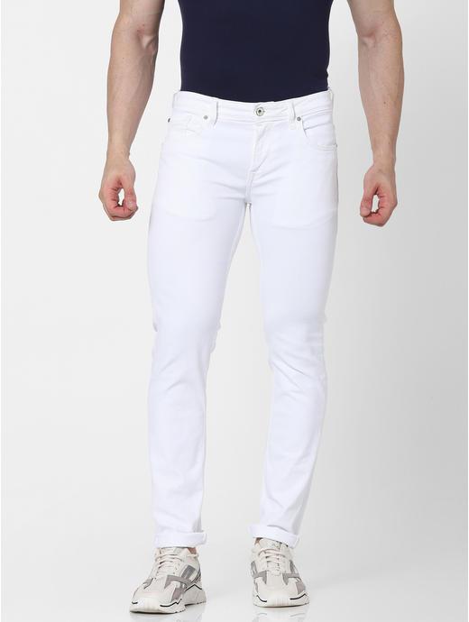 Slim Fit White Jeans
