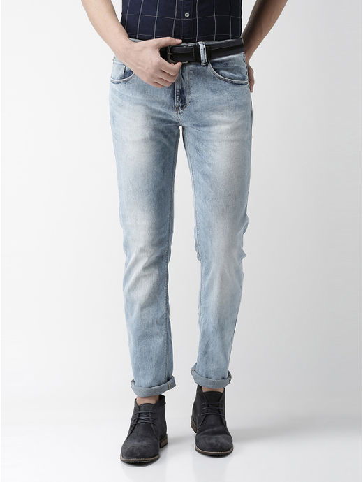 Blue Solid Straight Jeans