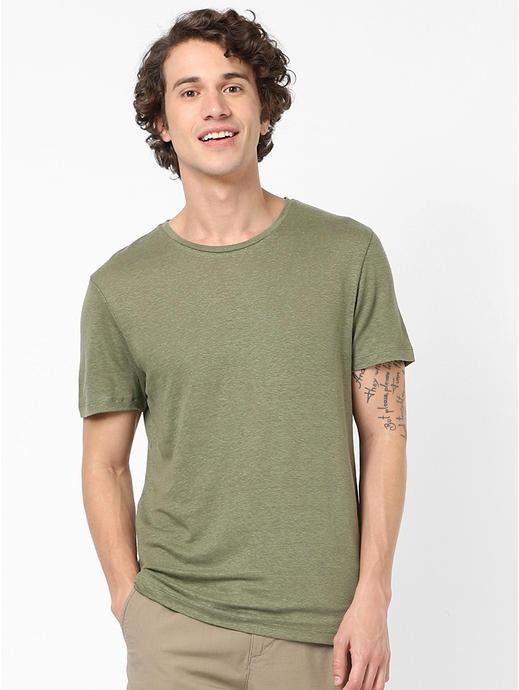 100% Linen Olive T-Shirt