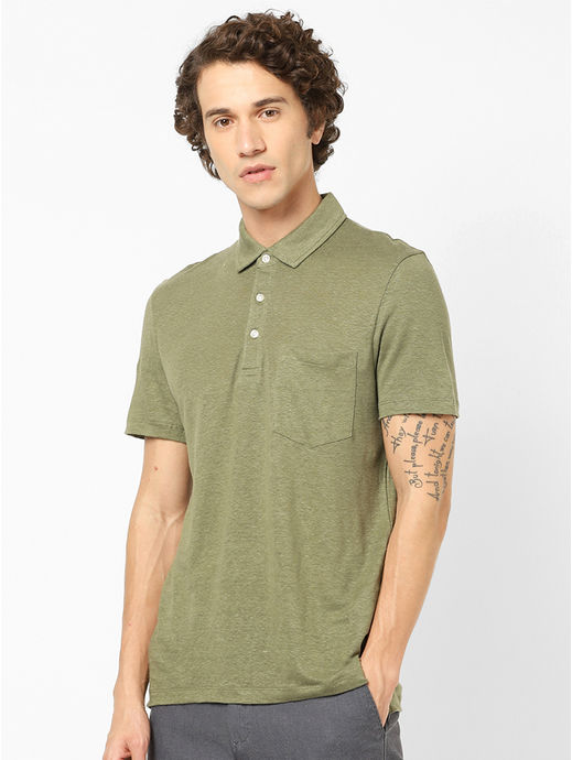 100% Linen Olive Polo T-Shirt