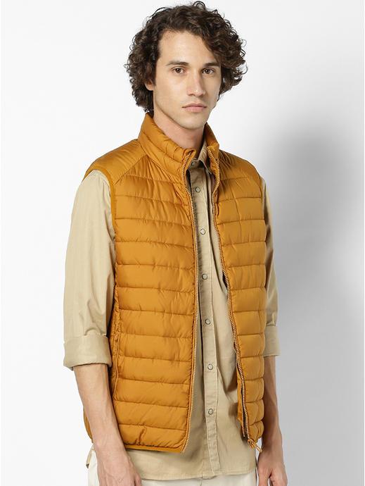Yellow Regular Fit Sleeveless Bomber Jacket