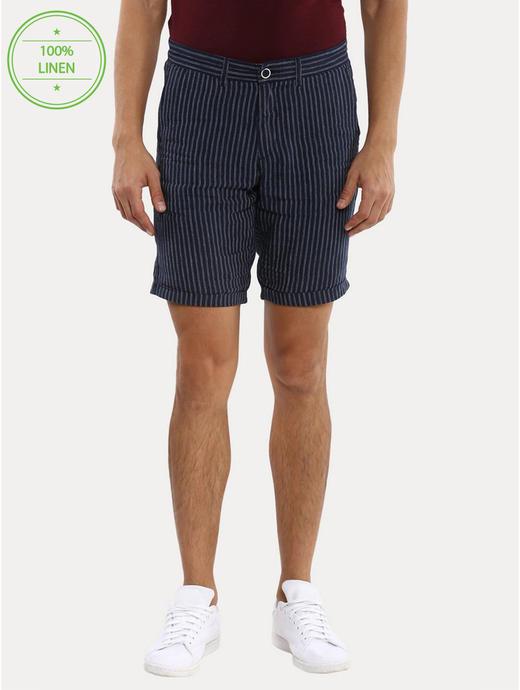 Navy Striped Shorts